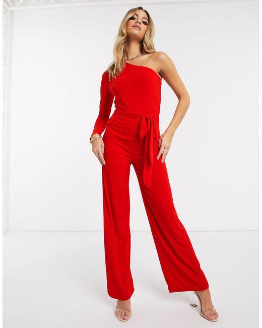 Красный Комбинезон На Одно Плечо AX Paris, цвет: Red