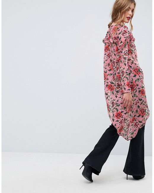 Ultimate Asymmetric Ruffle Blouse in Floral - Multi Asos Buy Cheap Brand New Unisex Particular Discount Clearance Store For Sale Discount Latest Collections Outlet Brand New Unisex 4UpDgQyL7