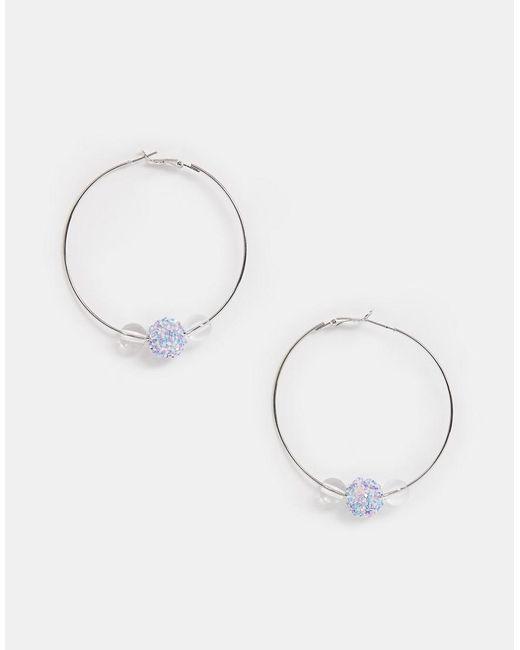 Miss Selfridge Metallic Bead Hoop Earrings