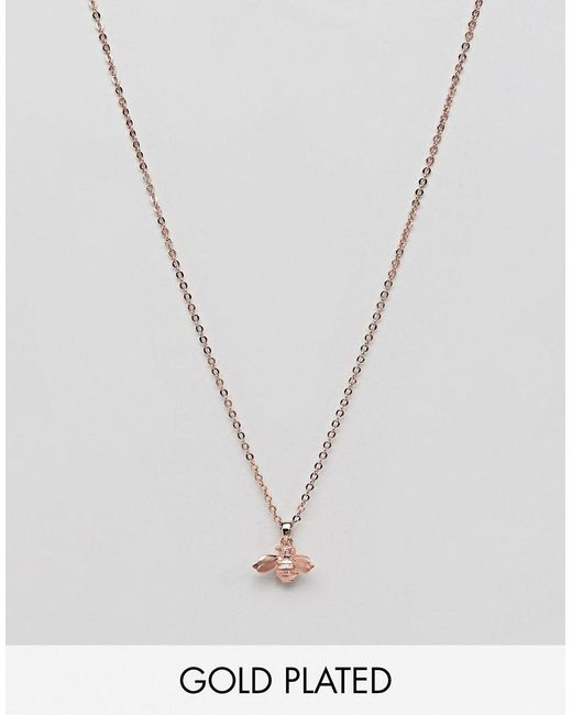 Ted Baker - Metallic Rose Gold Bumble Bee Necklace - Lyst