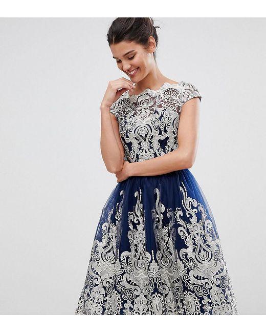 27a35e90ac98c3 Robe de bal de promo mi-longue en dentelle métallisée de qualité supérieure  et encolure style Bardot femme de coloris bleu