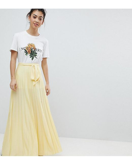 ASOS - Yellow Pleated Maxi Skirt With Belt - Lyst