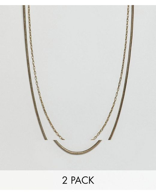 Icon Brand - Metallic Gold Chain Necklace In 2 Pack for Men - Lyst