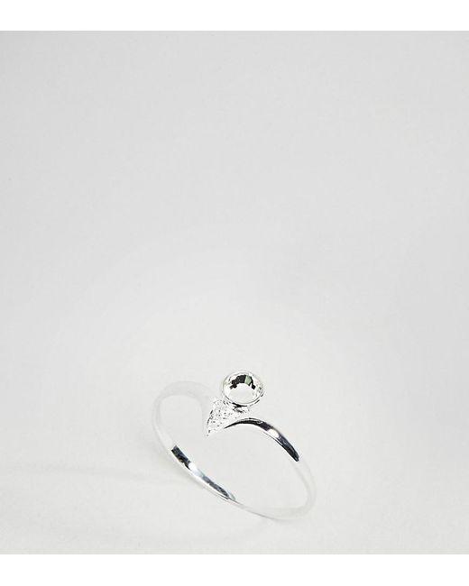 ASOS - Metallic Asos Design Curve Sterling Silver Stone Set Engraved Ring - Lyst
