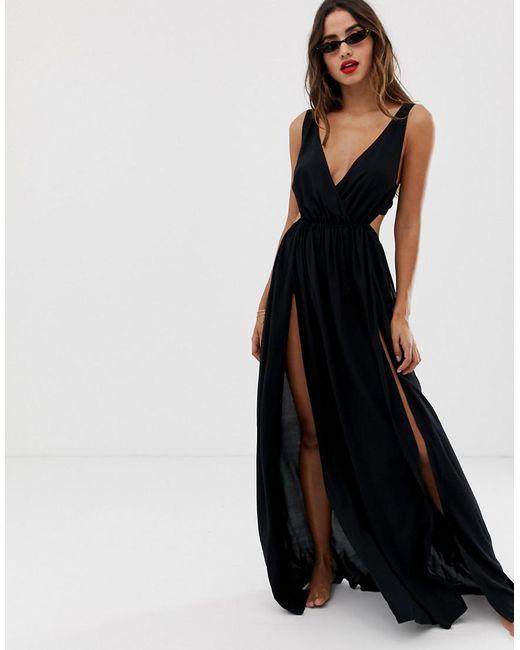 5452f5a240c1 ASOS - Tie Back Cross Front Split Maxi Beach Dress In Black - Lyst ...