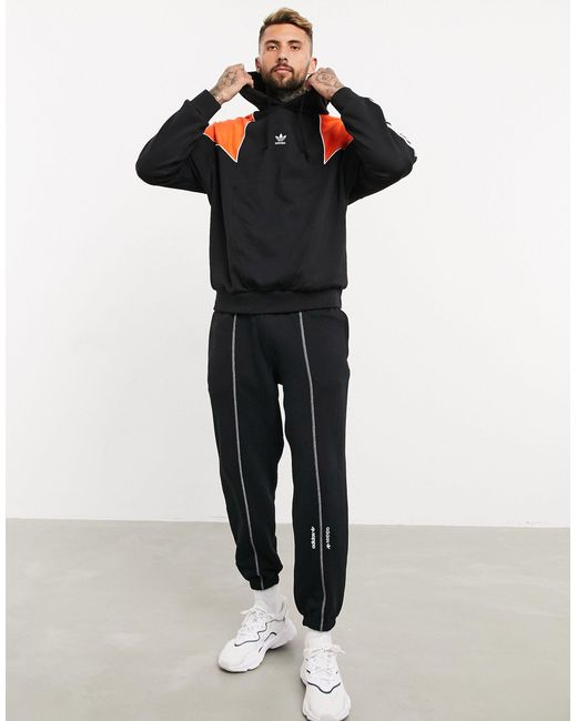 Adidas Originals Black Hoodie With Central Trefoil And 3 Stripes for men