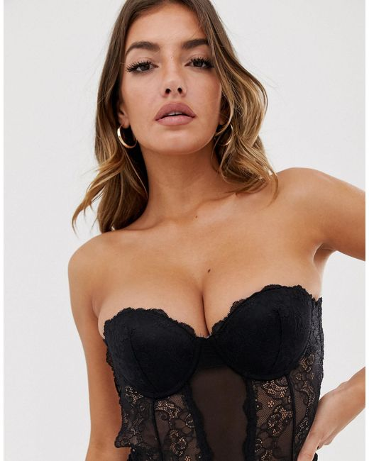 Fashion Forms Black Lace Backless Strapless Body