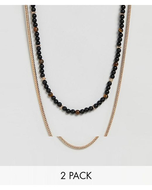 ALDO - Black Beaded Necklace In 2 Pack for Men - Lyst