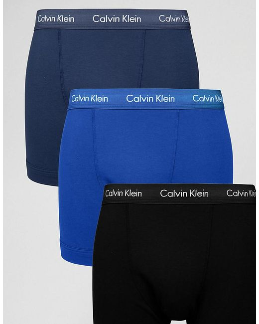 Calvin Klein | Blue Trunks 3 Pack Cotton Stretch for Men | Lyst