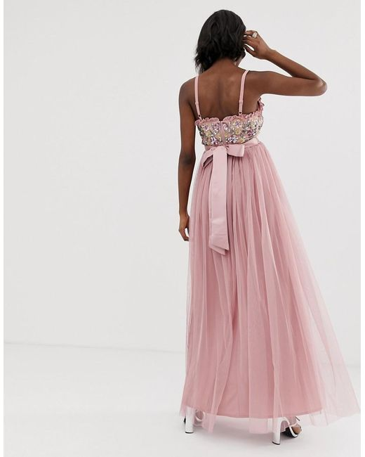 0565997d ... Maya Maternity - Pink Cami Strap Contrast Embellished Top Tulle Detail  Maxi Dress - Lyst
