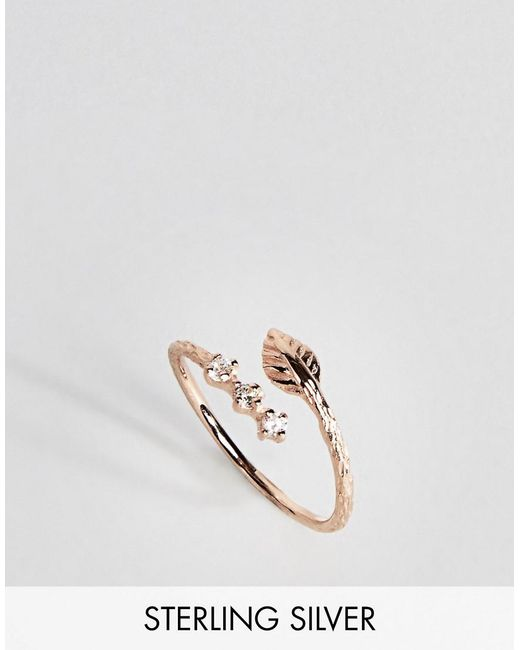ASOS | Metallic Sterling Silver Rose Gold Leaf And Wrap Thumb Ring | Lyst