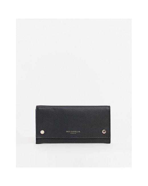Черный Кожаный Кошелек На Кнопках Paul Costelloe, цвет: Black