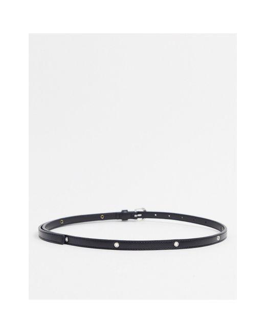 Черный Узкий Ремень С Люверсами ASOS, цвет: Black