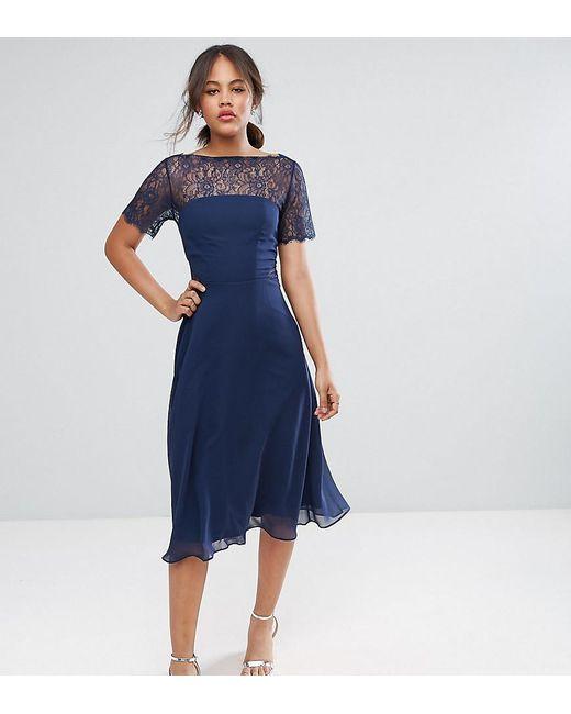 ASOS - Blue Lace Insert Panelled Midi Dress - Lyst