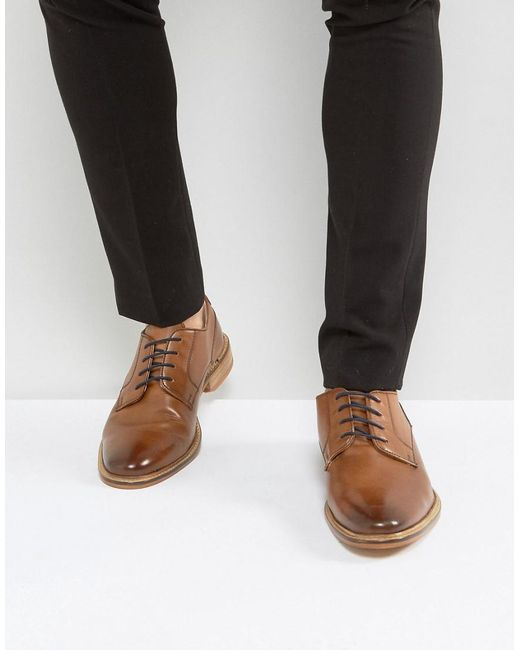 ASOS | Brown Derby Shoes In Tan Leather With Contrast Navy Lace for Men | Lyst