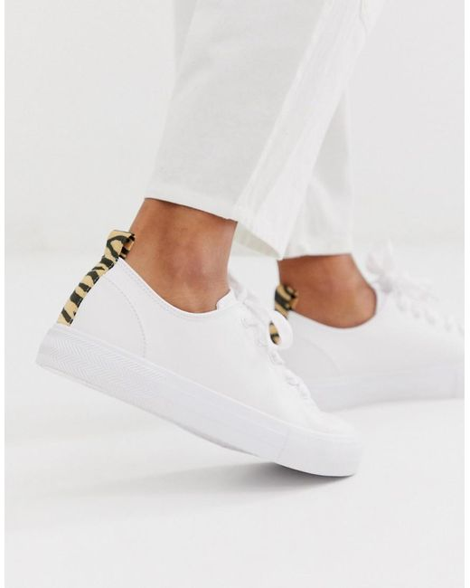shopping timeless design new product Bershka Denim Tiger Back Tab Plimsoll Sneakers in White - Lyst