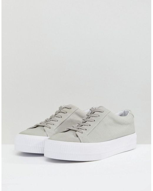 ASOS Lace Up Plimsolls In Grey Mesh With Chunky Sole browse online yzvn94s