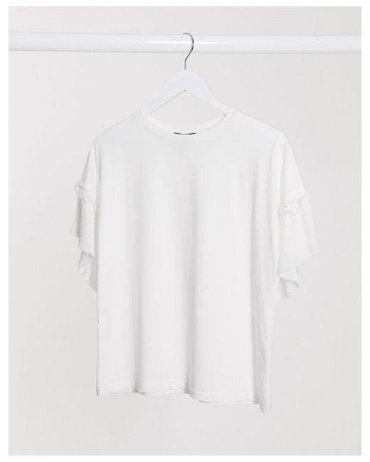 New Look White Pleated Sleeve Top
