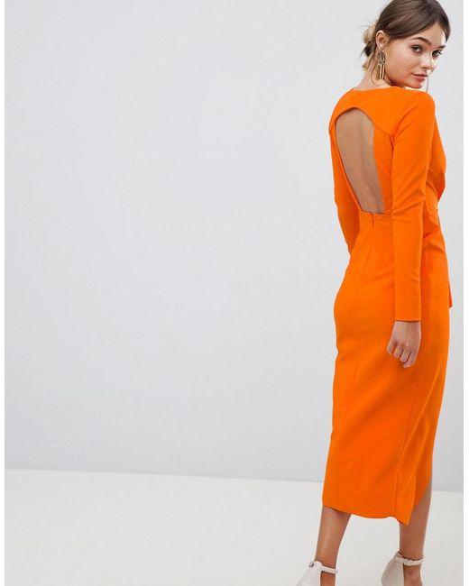 a4e28a0a67 ... ASOS - Orange Long Sleeve Waterfall Deep Plunge Midi Dress - Lyst