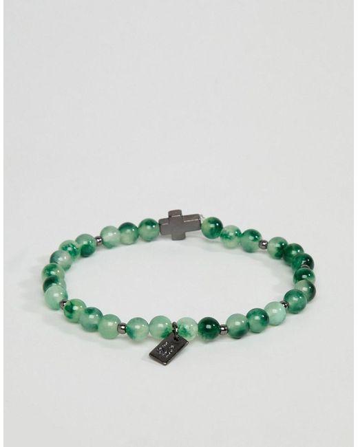 Icon Brand - Green Beaded Bracelet With Cross Charm for Men - Lyst