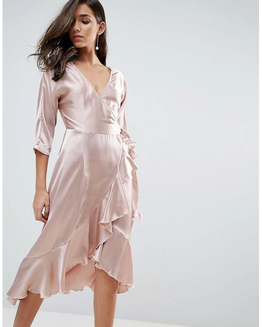 ASOS | Pink Wrap Ruffle Midi Dress | Lyst