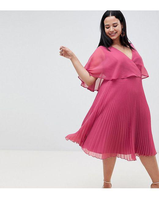 44f488d1e8 ASOS - Pink Asos Design Curve Flutter Sleeve Midi Dress With Pleat Skirt -  Lyst ...