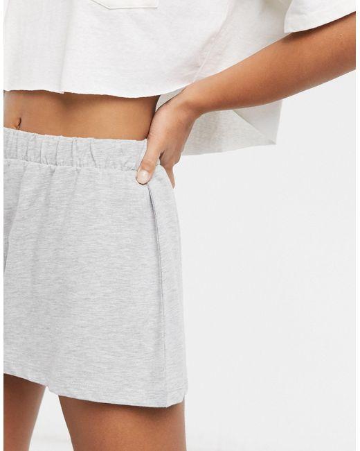 Серые Меланжевые Трикотажные Шорты От Пижамы ASOS, цвет: Gray