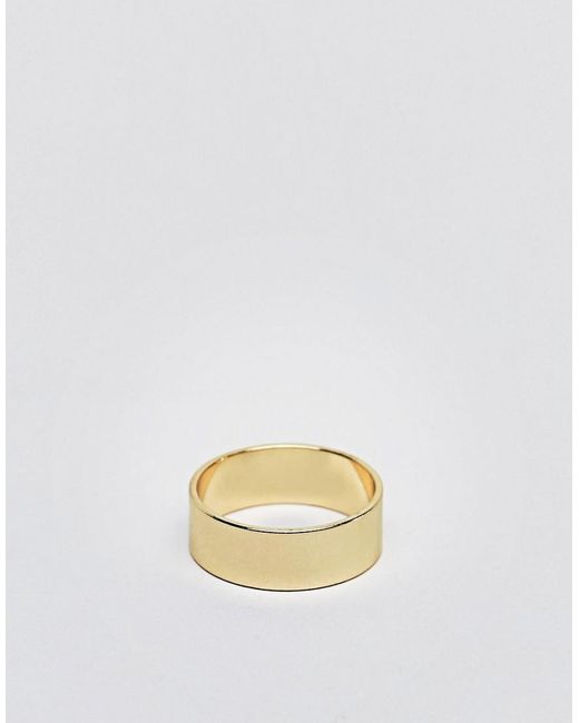 ASOS - Metallic Gold Ring for Men - Lyst