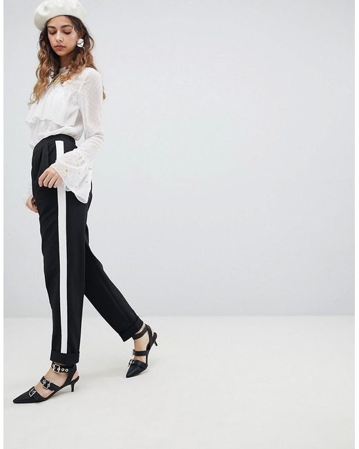 Miss Selfridge - Black Side Stripe Turn Up Tapered Trousers - Lyst