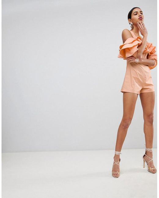 467f080705 Fashion Union - Orange Off Shoulder Playsuit With Ruffle Layers - Lyst ...