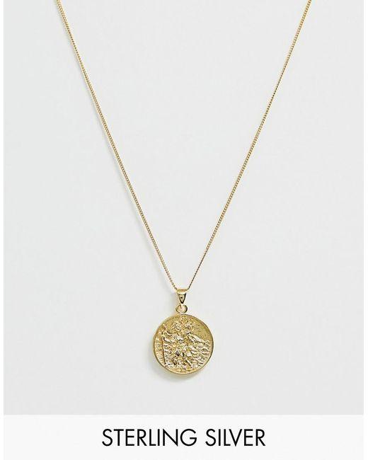 ASOS Mit 14 Karat Gold platierte Halskette aus Sterlingsilber mit St. Christopher-Anhänger in Metallic für Herren