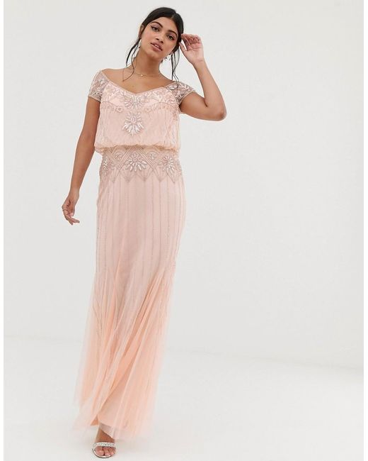 61a0d4700580e Amelia Rose - Pink Baroque Embellished Cap Sleeve Maxi Dress In Soft Peach  - Lyst ...