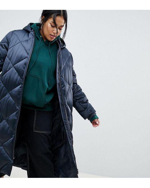 ASOS - Gray Asos Design Curve Longline Puffer Jacket - Lyst