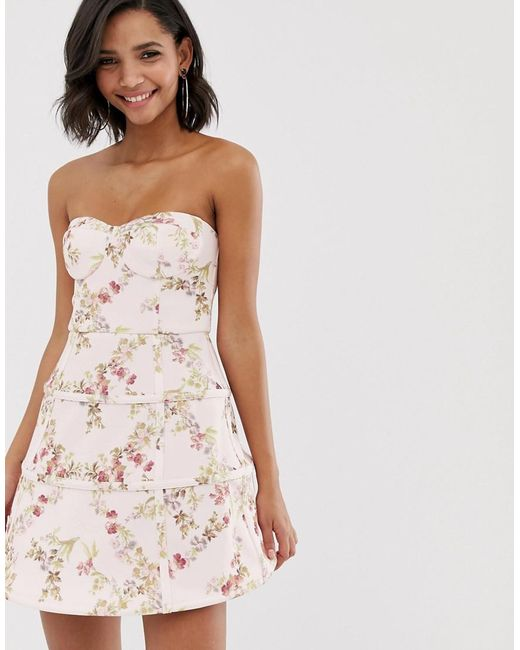 ASOS Multicolor Premium Floral Cage Mini Prom Dress
