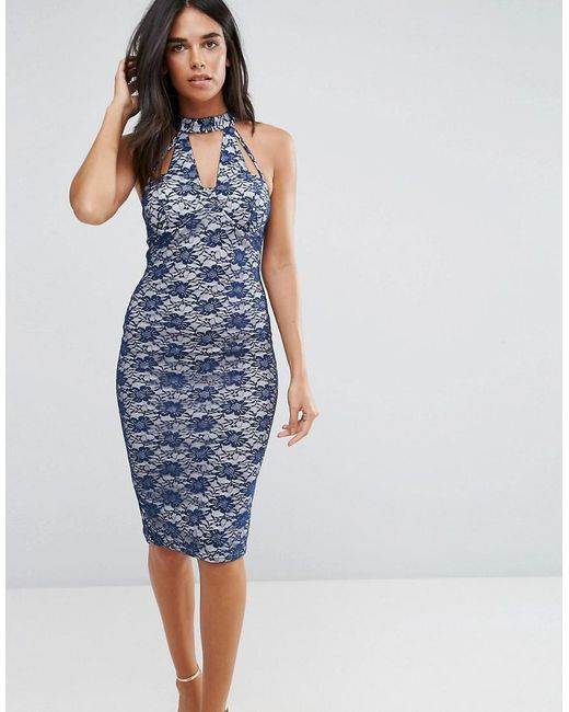 AX Paris | Blue Navy Strappy Bodycon Lace Dress With Nude Underlay | Lyst