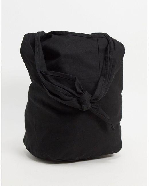 Черная Сумка-тоут Из Плотной Ткани С Завязкой ASOS для него, цвет: Black