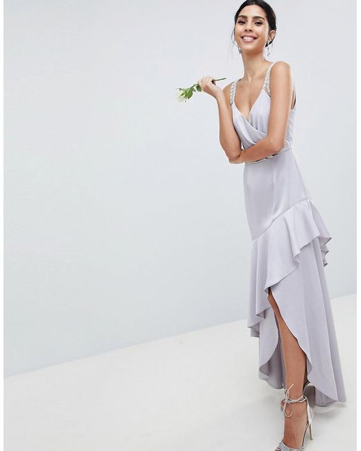 22bd5e1d22eb9 ASOS - Pink Pearl Trim Strap Maxi Dress With Ruffle Skirt - Lyst ...