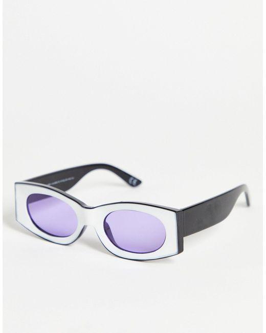 Квадратные Солнцезащитные Очки В Белой Оправе С Фиолетовыми Стеклами ASOS для него, цвет: Multicolor
