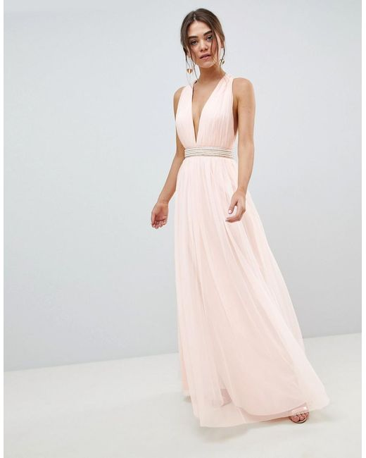 search for best how to serch buying now Women's Pink Tulle Maxi Dress With Embellished Waist