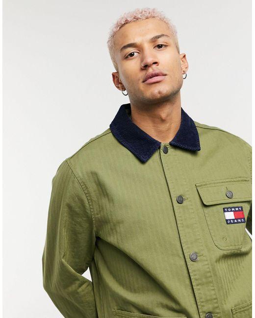 Куртка Оливково-зеленого Цвета В Утилитарном Стиле С Нашивкой Флага -зеленый Цвет Tommy Hilfiger для него, цвет: Green