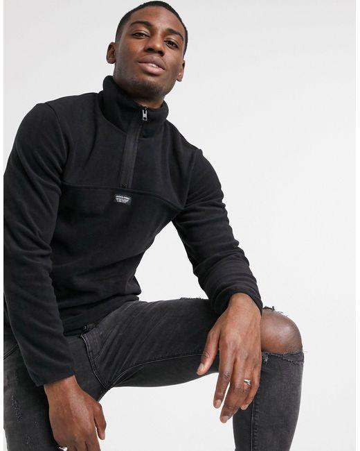 Черный Флисовый Свитшот С Короткой Молнией Core Jack & Jones для него, цвет: Black