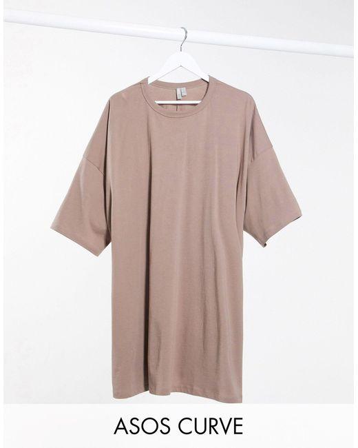Бежевое Платье-футболка В Стиле Oversized От ASOS, цвет: Multicolor