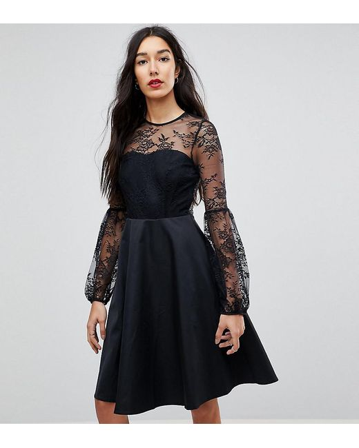 b41d2a55cb4a Y.A.S - Black Lace Top Balloon Sleeve Dress - Lyst ...