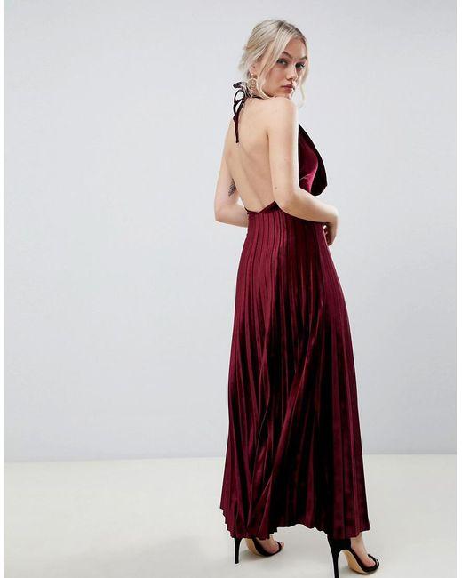 a92a5bd238082 ... ASOS - Red Asos Design Petite Pleated Velvet Cowl Neck Maxi Dress - Lyst