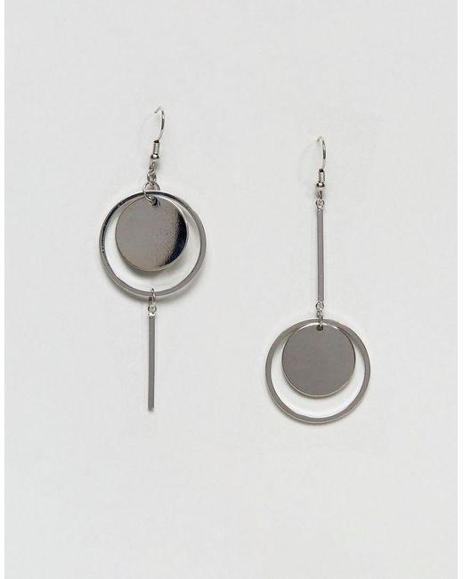 Pieces | Metallic Circle Drop Earrings | Lyst
