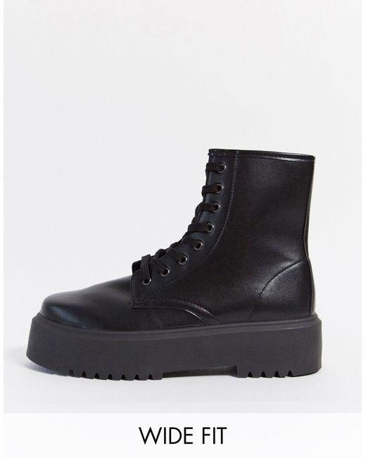 Черные Ботинки Для Широкой Стопы На Массивной Подошве ASOS, цвет: Black