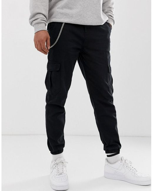 dc1ce71264 Men's Cargo Trousers With Chain In Black