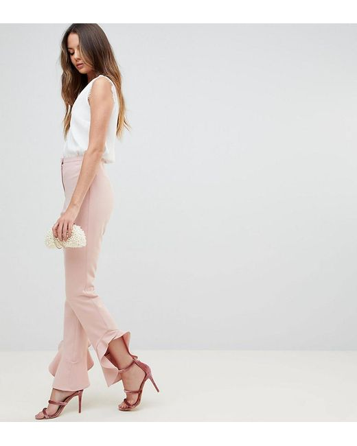 ASOS - Pink Tailored Soft Fluted Slim Pant - Lyst