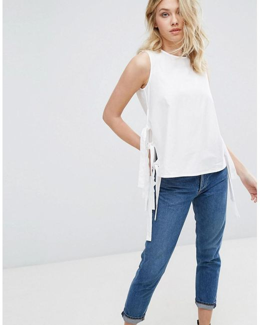 Mango | White Tie Side Detail Tunic Top | Lyst