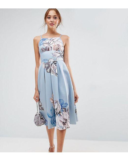 ASOS - Blue Strappy Pinny Floral Midi Debutante Dress - Lyst